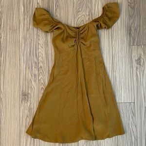 Dynamite Gold Brown Brand New Off Shoulder Dress